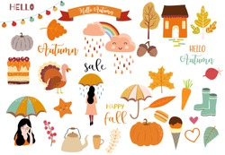Autumn object collection with pumpkin,cloud,rainbow,woman