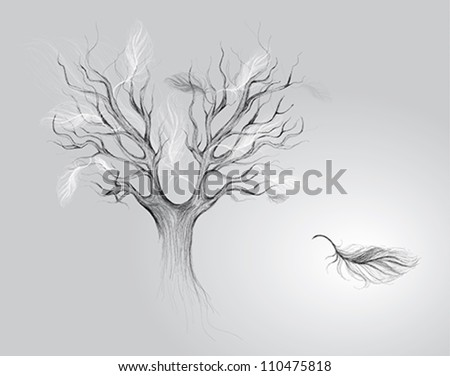 Autumn of life: Tree with falling feathers / Surreal vector sketch
