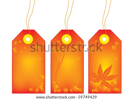 Autumn or fall sale tags with maple leaves