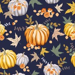 Autumn orange pumpkins, flowers, leaves, black background. Vector seamless pattern. Halloween illustration. October harvest. Organic vegetable garden food. Nature design. Thanksgiving day. Fall season