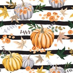 Autumn orange pumpkins, flowers, leaves, striped background. Vector seamless pattern. Fall season illustration. October harvest. Organic vegetable garden food. Nature design. Thanksgiving day