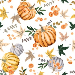 Autumn orange pumpkins, flowers, leaves, white background. Vector seamless pattern. Fall season illustration. October harvest. Organic vegetable garden food. Nature design. Thanksgiving day