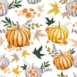 Autumn orange pumpkins, flowers ,leaves, white background. Vector seamless pattern. Halloween illustration. October harvest. Organic vegetable garden food. Nature design. Thanksgiving day. Fall season