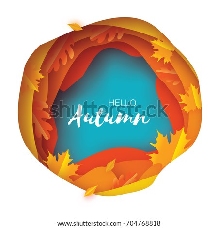 Autumn Paper Cut Leaves. Hello Autumn. September flyer template. Circle layered cave frame. Space for text. Origami Foliage. Maple, oak. Fall poster. Blue background. Vector