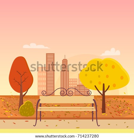 autumn park  bench in the