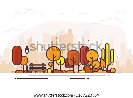 autumn park city park bench