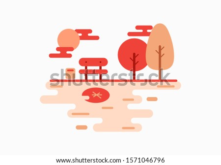 Autumn Park Illustration Vector, Park Illustration, Autumn illustration, vector illustration.