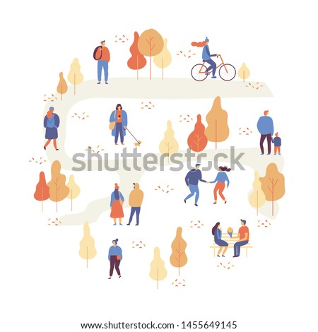 Autumn park landscape. Different People in warm clothes having fun outdoors in urban park. Colorful Autumn park flat vector illustration. Autumn park with people illustration.