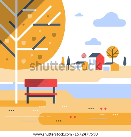 autumn park scene  small bench