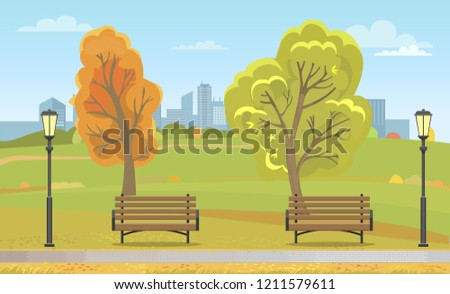 autumn park with benches and