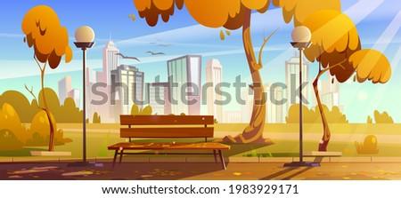 autumn park with orange trees