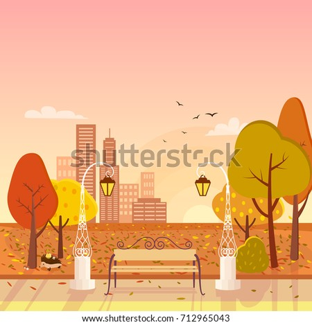 autumn park with trees and