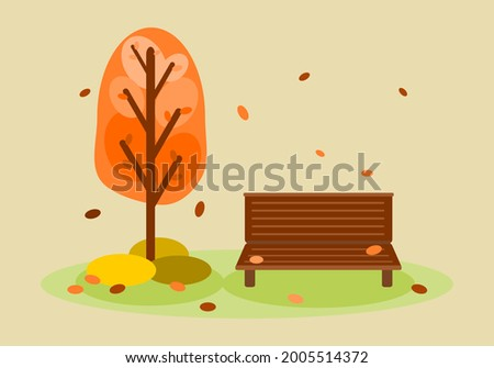 autumn park with wood bench and