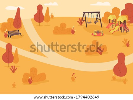 autumn park zone flat color