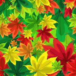 Autumn pattern. Pattern of leaves. Bright autumn leaves. Stylized, decorative leaves. Bright autumn seamless background. Falling leaves. Autumn beautiful pattern. Red, yellow, green leaves of trees.