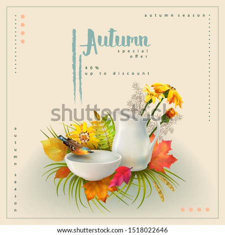 autumn poster template with the