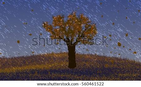 autumn pouring rain deciduous