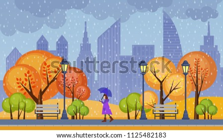 Autumn public city park vector illustration. Rainy cloudy cold weather with alone walking girl.
