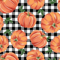 Autumn pumpkins with black and white gingham pattern. Perfect for fall, Thanksgiving, Halloween, holidays, fabric, textile. Seamless repeat swatch.