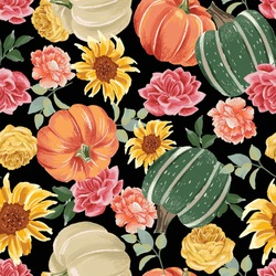 Autumn pumpkins with black background pattern. Sunflowers, flowers ditsy. Perfect for fall, Thanksgiving, holidays, fabric, textile. Seamless repeat swatch.