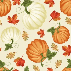 Autumn pumpkins with cream background pattern. Maple leaves. Perfect for fall, Thanksgiving, holidays, fabric, textile. Seamless repeat swatch.