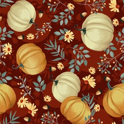 Autumn pumpkins with maroon background pattern. Leaves, sunflowers, flowers ditsy. Perfect for fall, Thanksgiving, holidays, fabric, textile. Seamless repeat swatch.