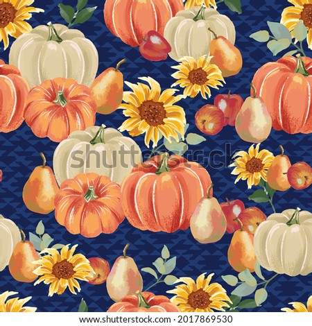 Autumn pumpkins with royal blue background pattern. Sunflowers, flowers, apples, pears, gourds. Perfect for fall, Thanksgiving, holidays, fabric, textile. Seamless repeat swatch. Foto stock ©