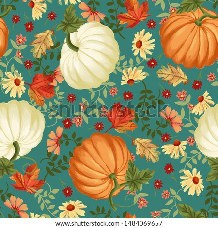 Autumn pumpkins with teal background pattern. Maple leaves, sunflowers, flowers ditsy. Perfect for fall, Thanksgiving, holidays, fabric, textile. Seamless repeat swatch.
