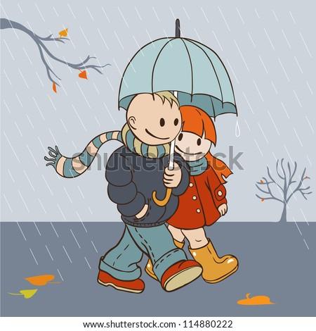 Autumn rainy day lovers walking under an umbrella