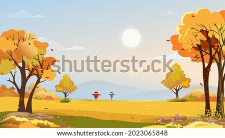 Autumn rural landscape in evening light with sunset, blue and pink sky background,Vector Cartoon fall season at countryside with forest tree and grass field with sunrise,Backdrop banner for Autumnal