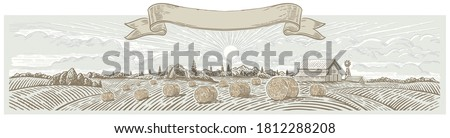 Autumn rural landscape panoramic format with a farm and bales of hay. Hand drawn Illustration in engraving style. Сток-фото ©