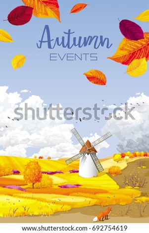 Autumn rural landscape vector banner with foliage, fields and windmill for Harvest Festivals and fairs, sales and other autumn events, for prints, greeting cards, posters, invitations.