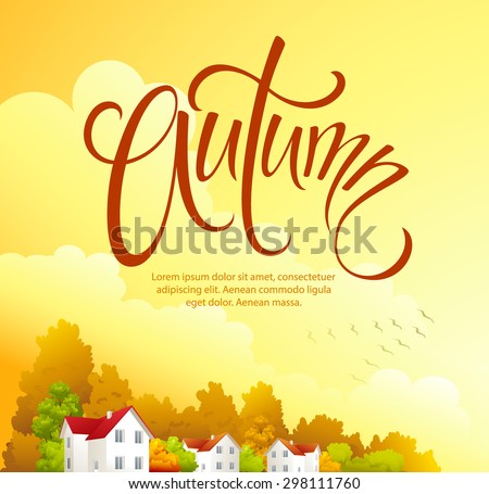 Autumn rural landscape. Vector illustration EPS 10