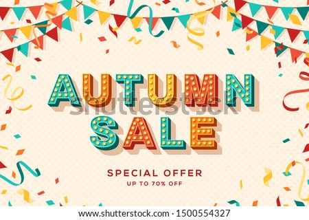 Autumn sale advertisement template. Fall season shopping event, special discount offer. Gift coupon, promo poster layout. Paper garlands and confetti flat illustration with carnival style lettering