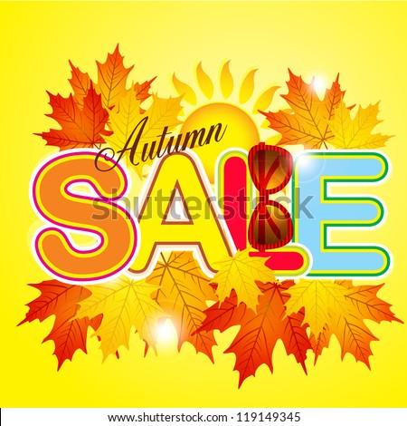 Autumn sale against beautiful maple leaves / Autumn of \