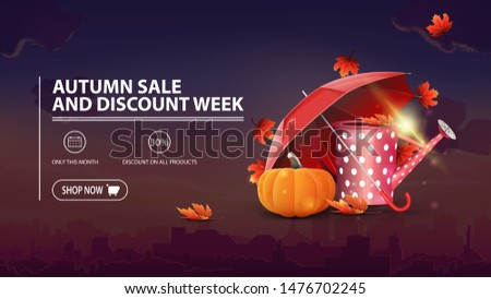 Autumn sale and discount week, discount banner with city on background, garden watering can, umbrella and ripe pumpkin