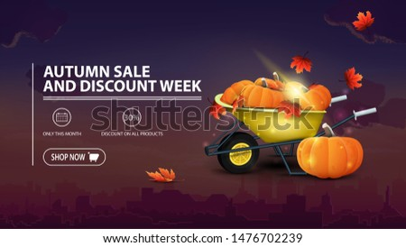 Autumn sale and discount week, discount banner with city on background, garden wheelbarrow with a harvest of pumpkins and autumn leaves