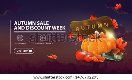 Autumn sale and discount week, discount banner with city on background, harvest of vegetables and a wooden sign