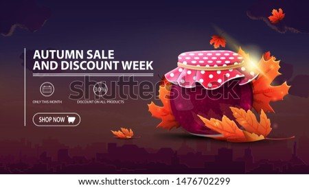 Autumn sale and discount week, discount banner with city on background, jar of jam and maple leaves