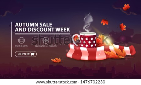 Autumn sale and discount week, discount banner with city on background, mug of hot tea and warm scarf