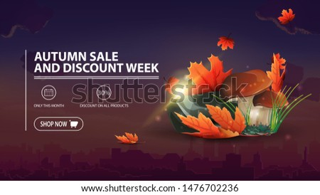 Autumn sale and discount week, discount banner with city on background, mushrooms and autumn leaves