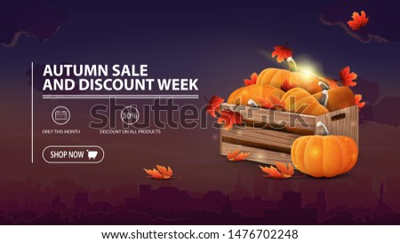 Autumn sale and discount week, discount banner with city on background, wooden crates of ripe pumpkins and autumn eaves