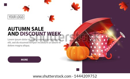 Autumn sale and discount week, discount white minimalist web banner template for your website with garden watering can, umbrella and ripe pumpkin