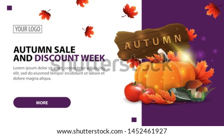 Autumn sale and discount week, discount white minimalist web banner template for your website with harvest of vegetables and a wooden sign