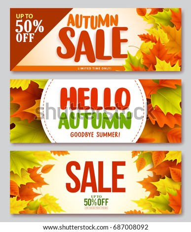 Autumn sale and hello autumn vector design set of banners and background for fall season with maple leaves. Vector illustration.
