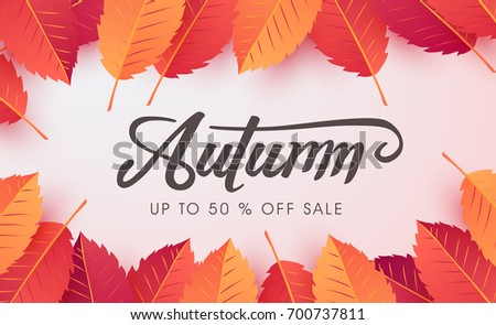 Autumn sale background layout decorate with autumn leaves for shopping sale or promo poster and frame leaflet or web banner.Vector illustration template. #700737811