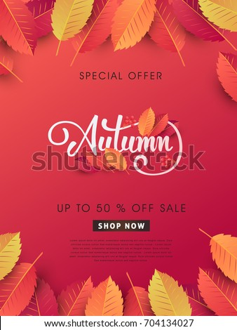 Autumn sale background layout decorate with leaves for shopping sale or promo poster and frame leaflet or web banner.Vector illustration template. #704134027