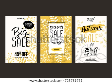 Autumn sale background template. Poster, card, label, banner design set. Layouts for shopping sale or promo poster and frame leaflet or web banner. #725789731