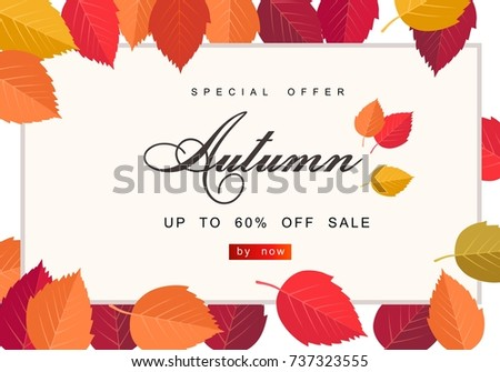 Autumn sale background template. Poster, card, label, banner design set. Layouts for shopping sale or promo poster and frame leaflet or web banner #737323555