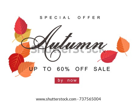 Autumn sale background template. Poster, card, label, banner design set. Layouts for shopping sale or promo poster and frame leaflet or web banner #737565004